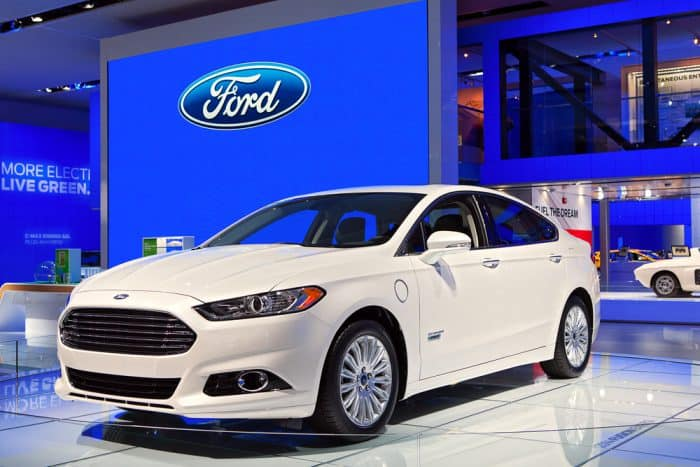 White Ford Fusion at Car Show