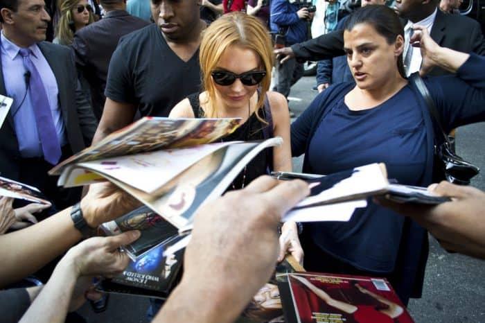 Lindsay Lohan with Press