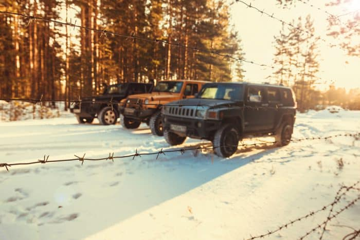 Group of Jeep Wranglers in Snow