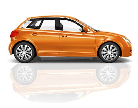 3D Orange Sedan on White Background
