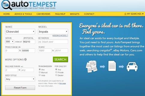 Autotempest home page