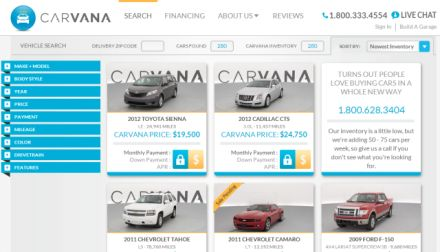 Carvana Homepage