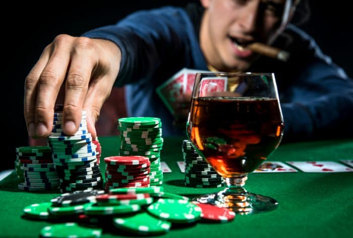 Playing Poker Drinking and Smoking