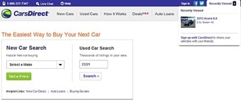 carsdirect homepage recently viewed