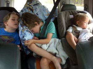 kids asleep during road trip