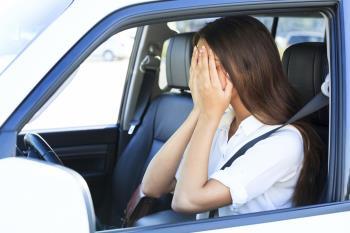 upset female driver