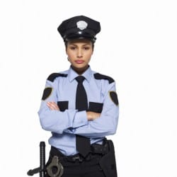 women police officer at traffic stop