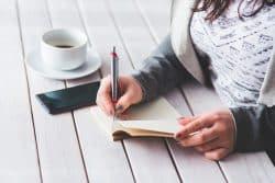 Girl notebook coffee