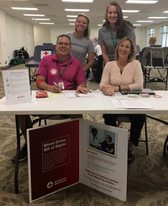 Blood drive desk