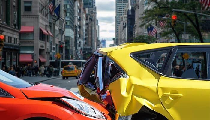 car crash in the city