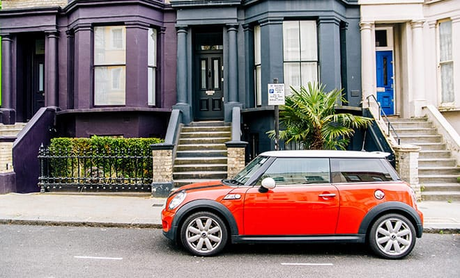 red mini cooper on street