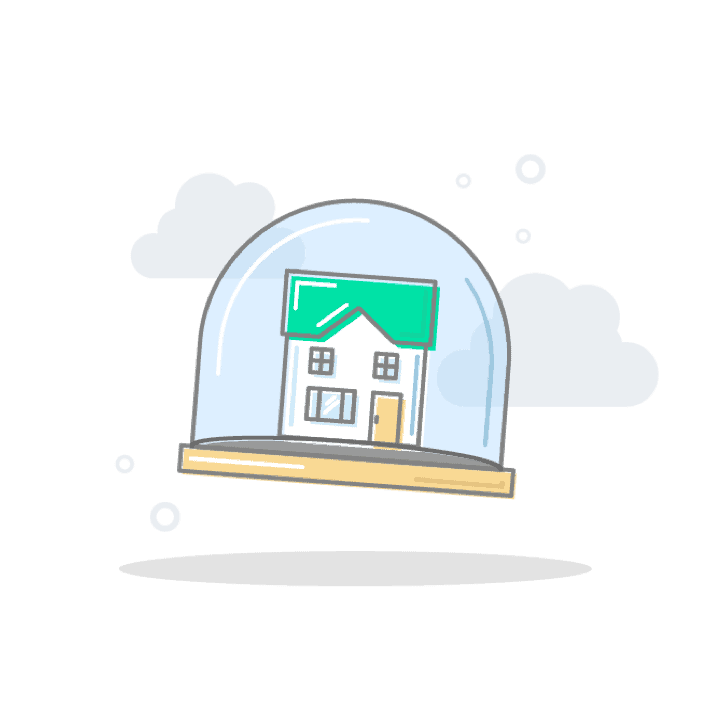 House inside snow globe illustration