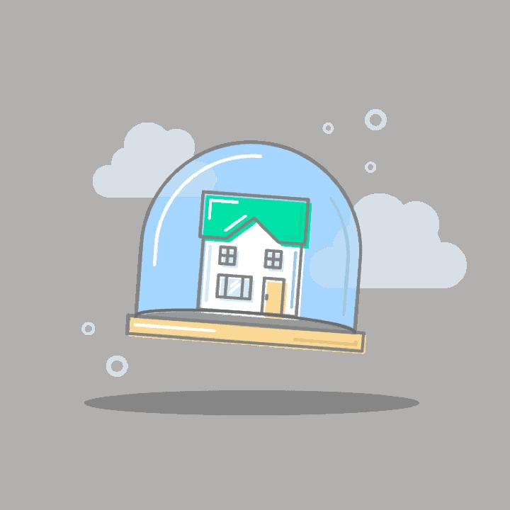 House inside snow globe illustration