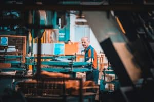 warehouse worker orange shirt