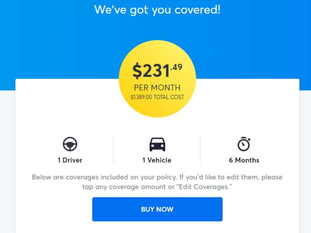 Clearcover's final quote was $231.49
