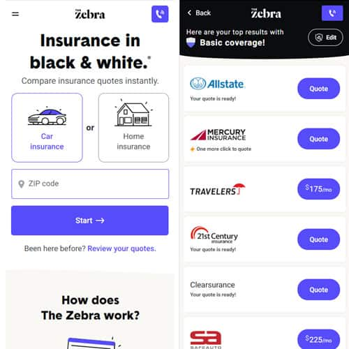 The Zebra mobile home page and results page side-by-side
