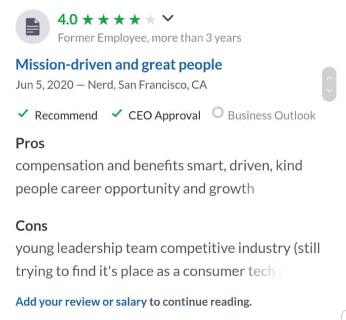 NerdWallet's 4-star review on Glassdoor