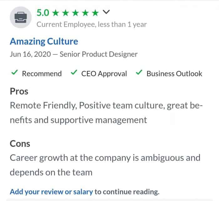 NerdWallet's 5-star review on Glassdoor