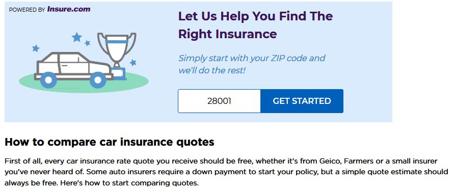 NerdWallet's insurance comparison homepage