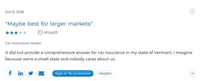 Insurify's three-star review on Clearsurance
