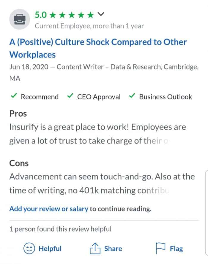 Insurify's five-star review on Glassdoor
