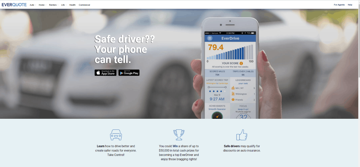 Everquote's safe driving app is called EverDrive