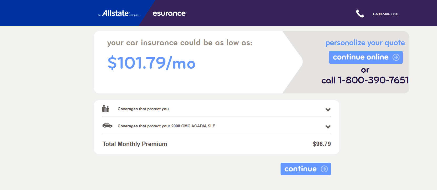 Esurance's page after clicking their ad
