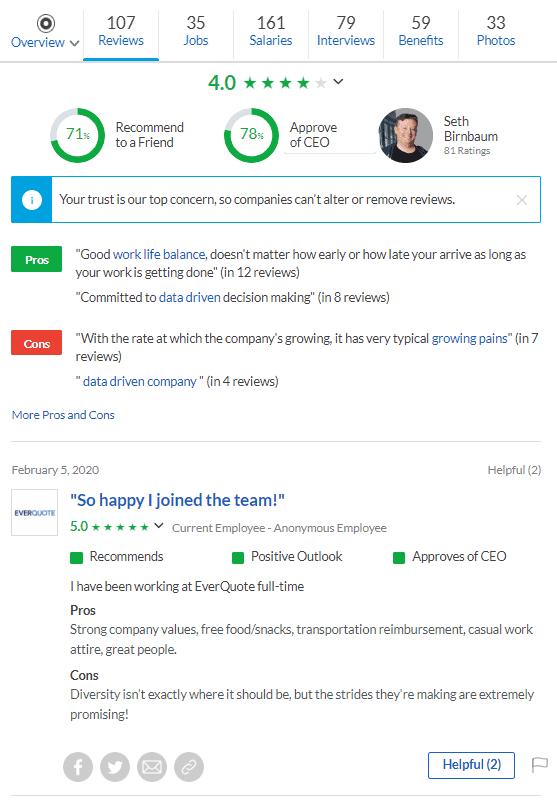 Top reviews of EverQuote on Glassdoor