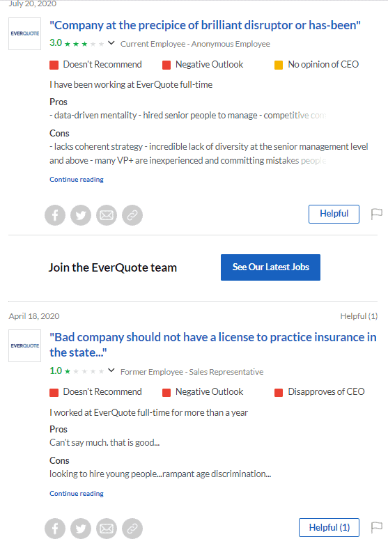 Negative reviews of EverQuote on Glassdoor