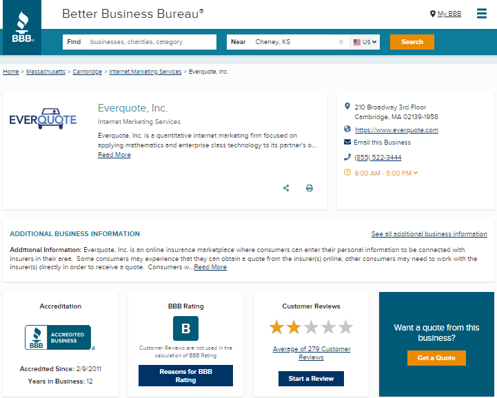 BBB gives Everquote lower reviews than the rest