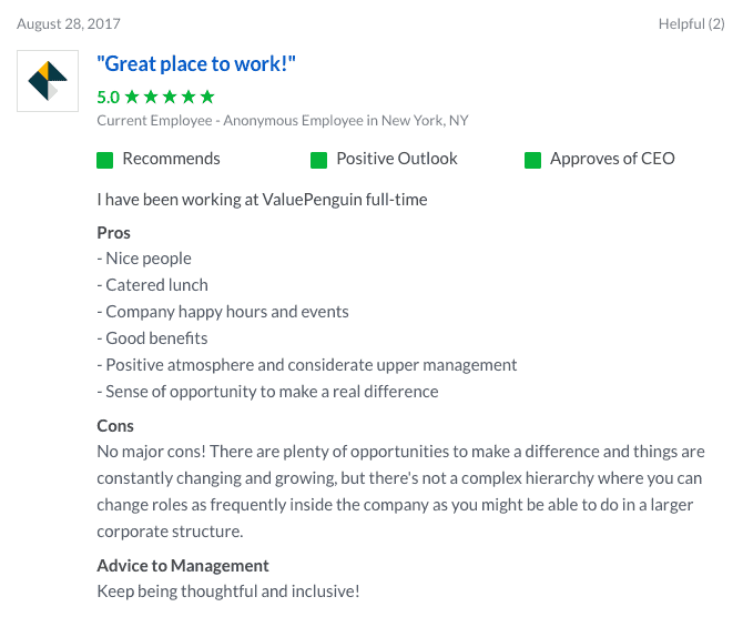 ValuePenguin reviews on Glassdoor