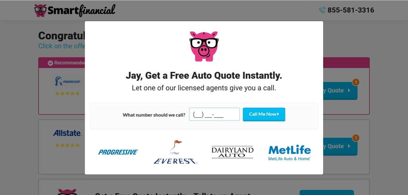 SmartFinancial's offer for a free quote over the phone
