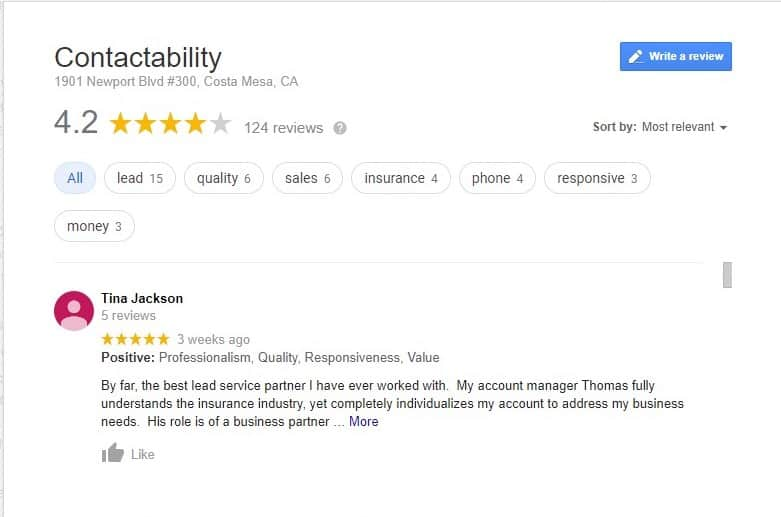 Reviews of Contactability on Google