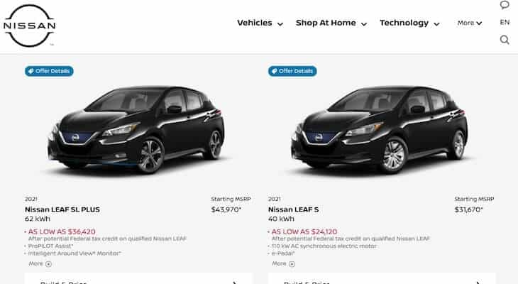 Nissan LEAF trim levels