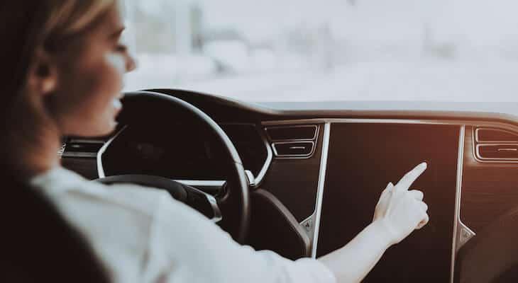Woman drives a Tesla