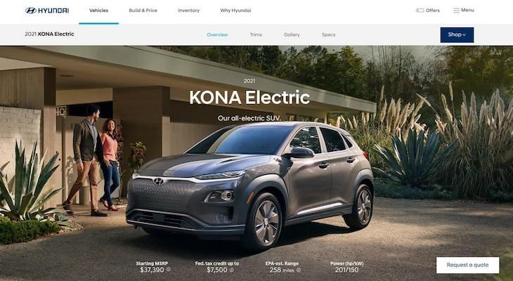 Screenshot of Hyundai Kona EV homepage