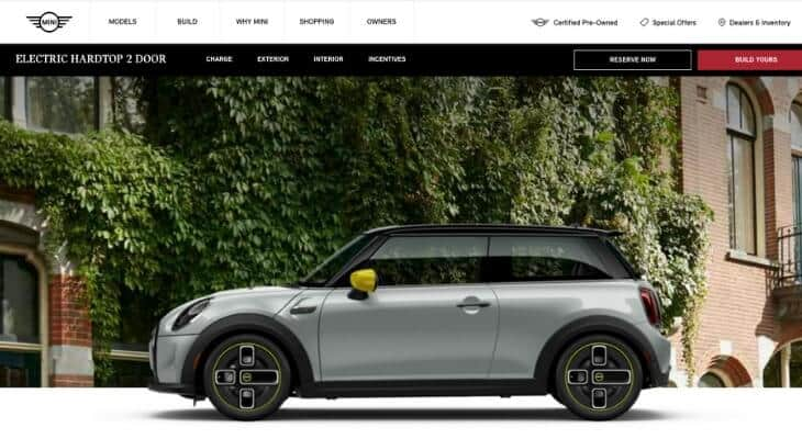 Screenshot of Mini Cooper Electric home page