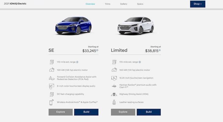 Hyundai IONIQ Electric trims