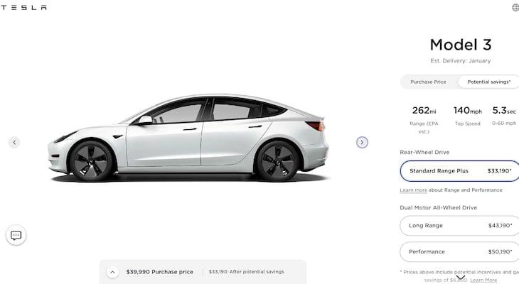 All wheel drive electric car: Tesla Model 3