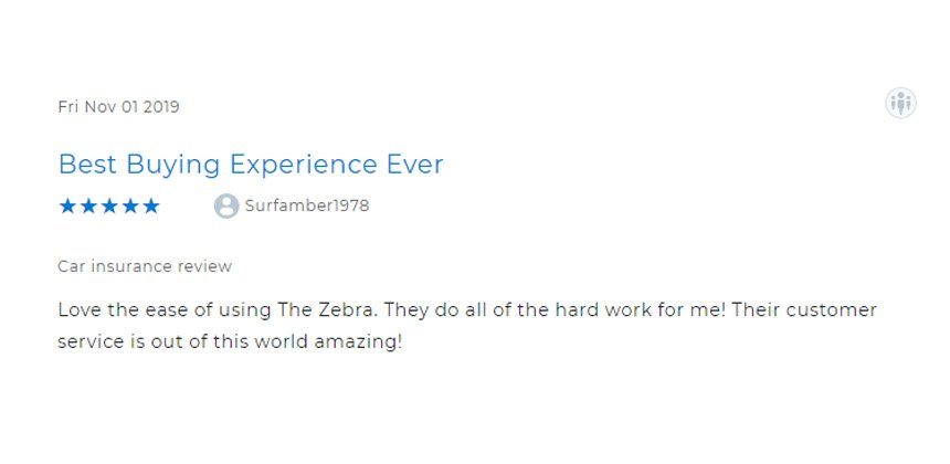 Screenshot of a five star review of The Zebra on Clearsurance