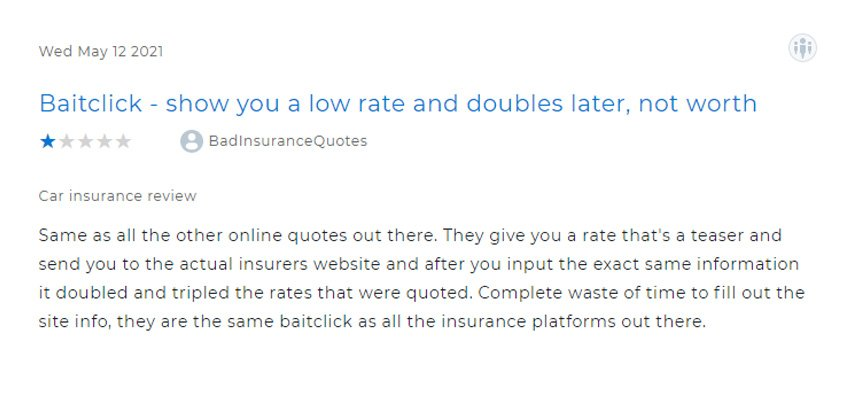 Screenshot of one star review of The Zebra on Clearsurance