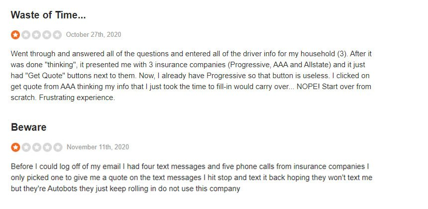 Screenshot of reviews of The Zebra on Site Jabber